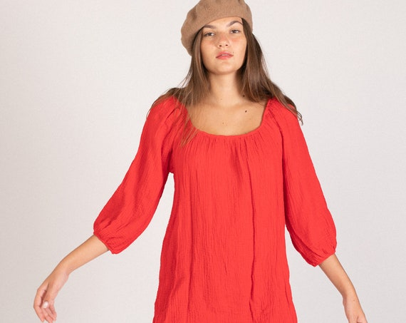 Organic gauze dress tunic. RED