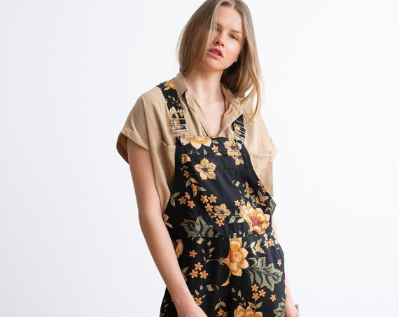 Floral Boho Print Loose Retro Denim summer overall .