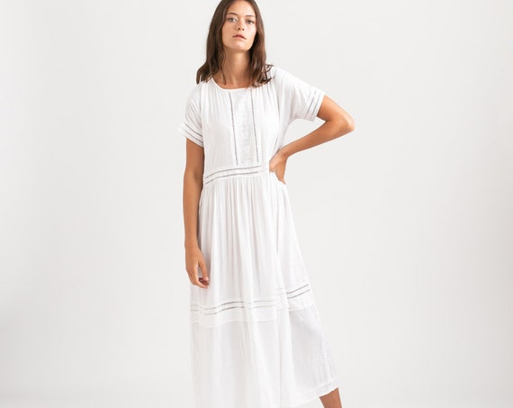 Maxi White Eyelet Trim Summer Dress.