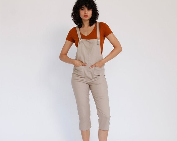 70% GARAGE SALE, Women Leisure Adjustable Cotton Dungarees Cotton stretch Overalls, Cropped Leg Romper , Womens Jumpsuit.