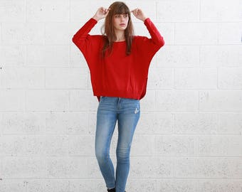 Kimono cut sweater , women's knitted sweaters,Pullover Sweater ,Red .