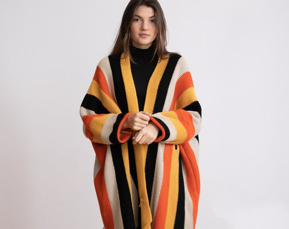 Strips poncho color block cardigan .