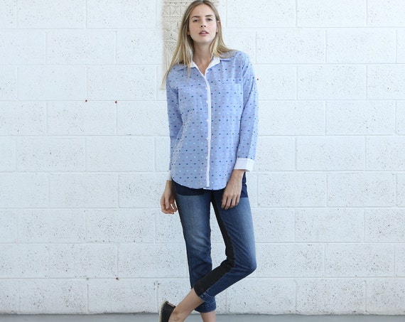 70% GARAGE SALE, Button shirt with pockets,blue button up blouse, jacquard shirt.designer shirts women