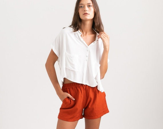 Summer Casual Basic Cotton Shorts, Brick.