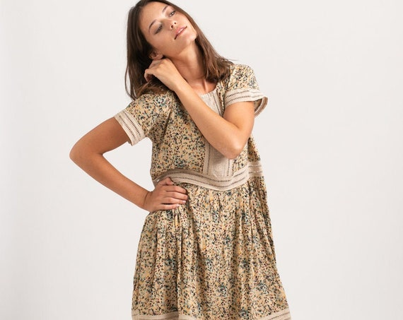 Vintage Look printed Midi Eyelet Trim Summer Dress,ivory.