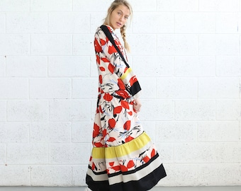 Spanish Panel Dress , Red print, Maxi Dress, Oversized Dress ,Boho Dress, Boho chic