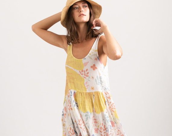 Izzy Dress ,Summer Original Print Organic Cotton Summer vacation  Midi Dress .