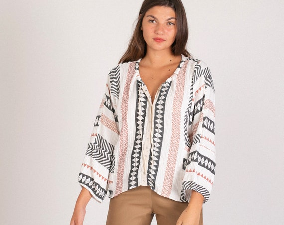 Cotton Gauze Original Boho printed long sleeves unique blouse.