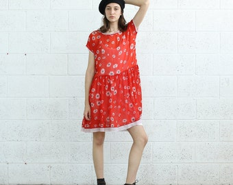 DAISY PRINT DRESS, Tunic Dress, Red dress.