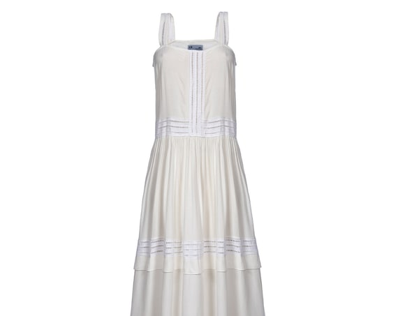 Eyelet Trim Maxi Tank Dress in WHITE.