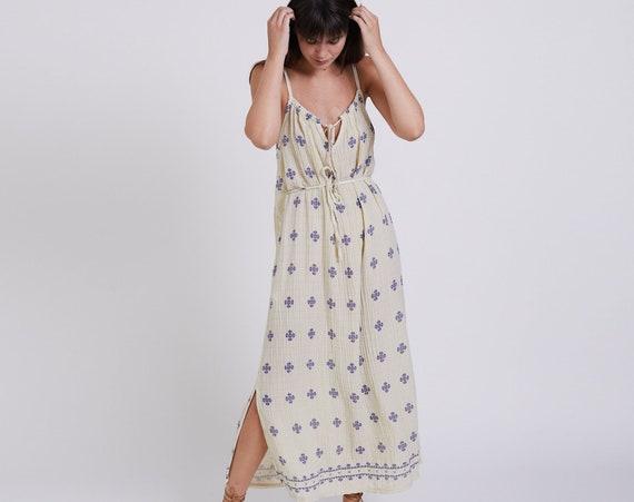 Waffle Dress , Organic Cotton Maxi Dress , Tank summer dress. Red Boho Dress