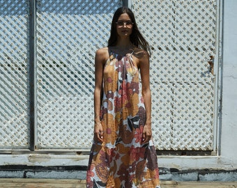 Floral 70's Print Relaxed Fit Maxi Dress