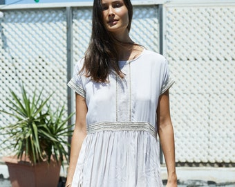 Midi Eyelet Trim Party Dress, Ivory.