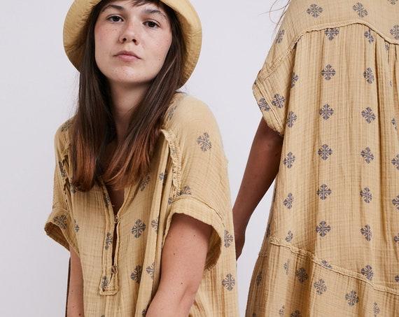 Fleur-de-lis Dress, Button Neck Organic Cotton Summer Dress.