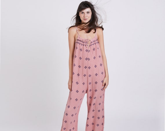 Women's Original folk print sleeveless onesie, Cotton overalls, casual fit Boho overall .