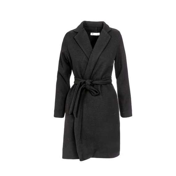 Belted Long Elegant Coat, Black