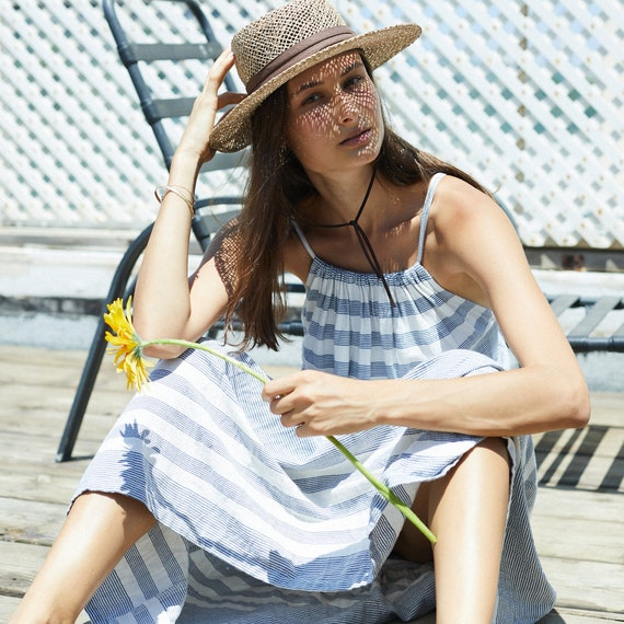 Blue and White Greek style Halter maxi stripe Summer Dress.