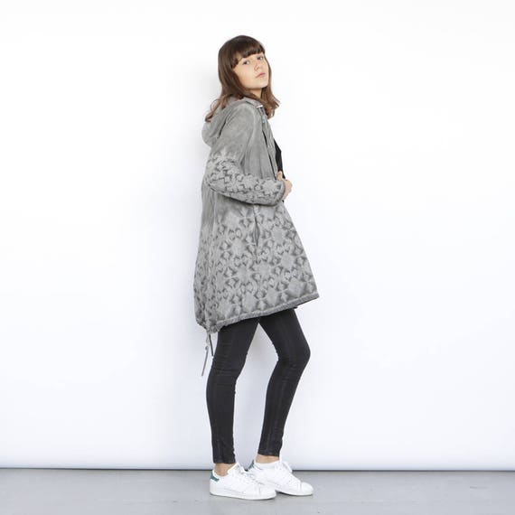 length Jacket knee Embroidered Grey coat grey fqtWEZ6w