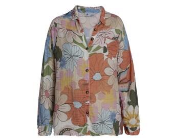 Organic Cotton Floral print Boho button down Shirt.