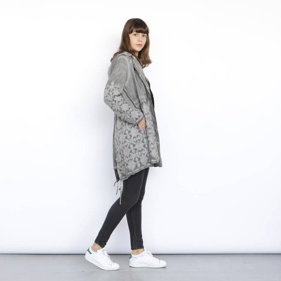 length grey knee Grey Jacket Embroidered coat 4wqtRWv