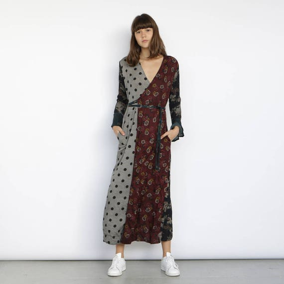 long print sleeve dress dress mix maxi wrap wrap dress x06waxCqH