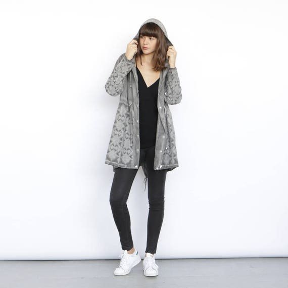 Embroidered knee grey coat Grey Jacket length ZqOZ4Ar