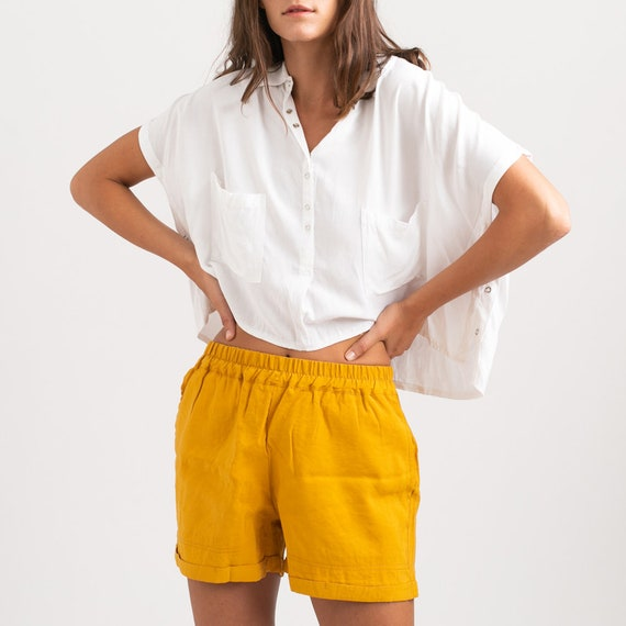 Summer Casual Basic Cotton Shorts, Yellow.