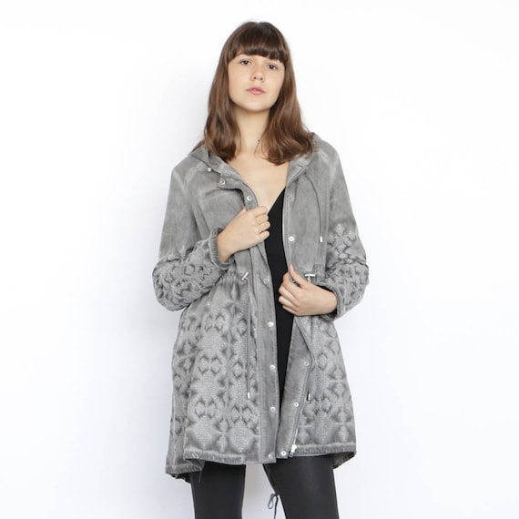 grey knee Grey Jacket Embroidered length coat zHxqI