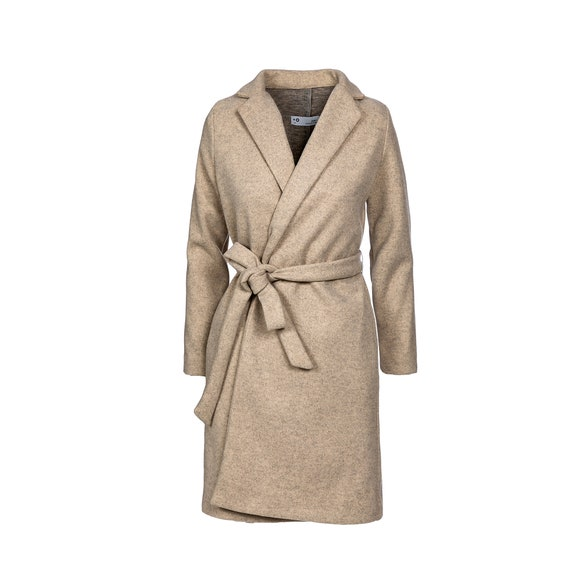Belted Long Elegant classic trench Coat, Off-white