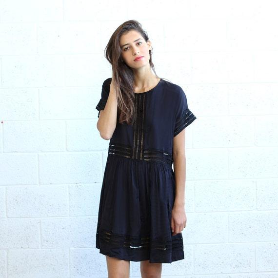 Black Midi Eyelet Trim Party Dress.