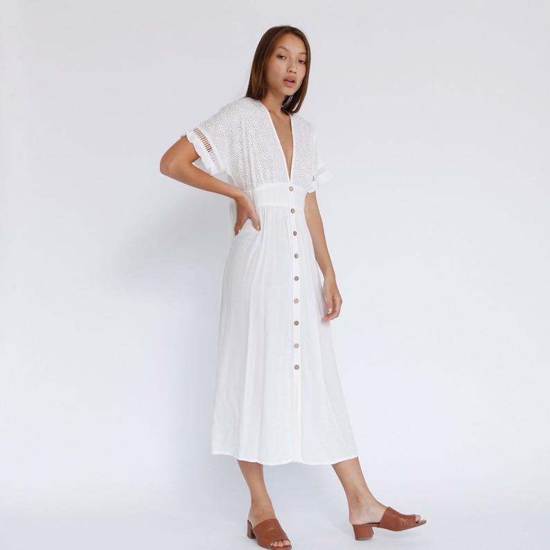 ccf368c536e The Melody Lace Dress Button Through Maxi Dress White V