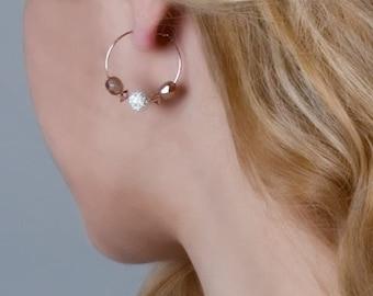 Rose Gold Hoop Earrings, Beaded Hoop Earrings, Dainty Earrings, Minimalist Earrings, Bridal Earrings, Mixed Metal Earrings, Swarovski Jewely