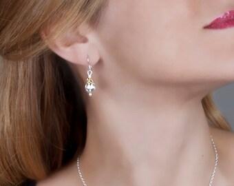 CZ Drop Earrings, Bridal Earrings, Sterling Silver Gold Earrings, Crystal Earring, Dainty Wedding Earrings, Drop Earrings, Bridesmaids Gift
