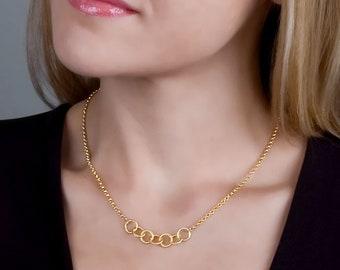 Gold Layered Necklace, Circles Necklace, Karma Necklace, Gold Dainty Necklace, Simple Necklace, Delicate Necklace, Bridesmaids Gift, Boho