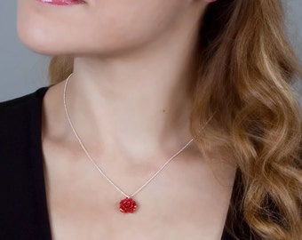 Flower Necklace, Red Flower Necklace, Bridesmaid Gift, Bridesmaid Necklace, Bridal Jewelry, Sterling Silver Necklace, Flower Girls Gift