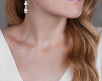 Bridal Earrings, Crystal Earrings, Sterling Silver Earrings, Swarovski Jewelry, Dangle Drop Earrings, White Wedding Jewelry, Bride Earrings