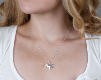 Crystal Necklace, Star Necklace, CZ Necklace, Swarovski Starfish Pendent, Dainty Necklace, Sterling Silver Crystal Necklace, Pearl Jewelry