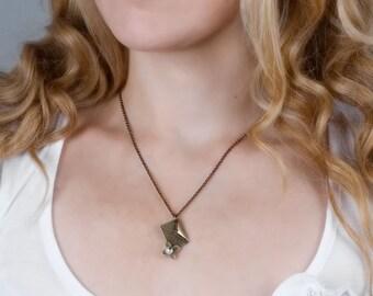 Brass Necklace, Envelope Brass Charm Necklace, Letter Necklace, Simple Necklace, Pearl Brass Necklace, Boho Necklace, Bohemian Jewelry
