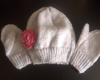 Child's Hand Knitted Hat and Mitten set in Grey Multi with Pink Rose
