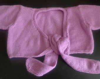 Child's Pink Hand Knitted Shrug with Tie Front