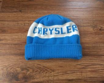 f6ea3f7d Vintage Chrysler Toque Knit Winter Hat Retro Blue White
