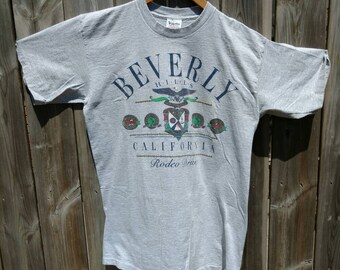 7affb171 Vintage T-Shirt 1990s Beverly Hills Rodeo Drive Tshirt Size Large T Shirt  Retro Tee 90210