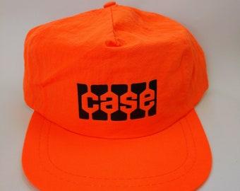 daaf142f397 Vintage Case Construction Neon Orange Retro 1980s Hat Lightweight Nylon  Fabric Snapback Bulldozer Excavator Machine Company Advertising