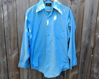 5d1eb5f84 Vintage Mens Blue Shirt Button Up Sears 1960s 1970s Retro Long Sleeve  Premiere Perma Prest Sears Size 15 33