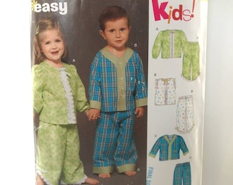 e526eaec13 Kids Pyjamas Sewing Pattern Girls Boys Pajamas Toddler Baby Size 1 2 3 4  Simplicity 6446 New Look Easy Pjs Top Pants