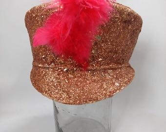 63b8c386e66c1 Vintage Majorette Hat Marching Band Sequinned Feather Burlesque Retro