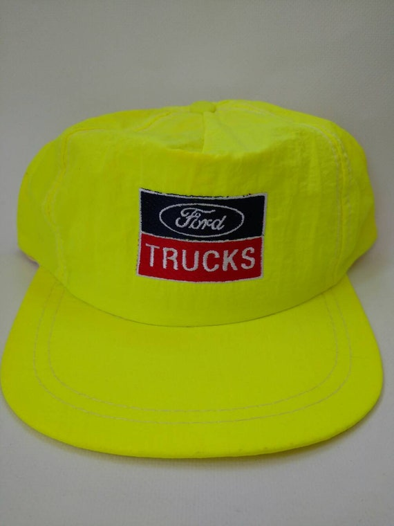 7cba86159ac Neon Yellow Ford Trucks 1980s Hat Vintage Snapback Trucker Hat