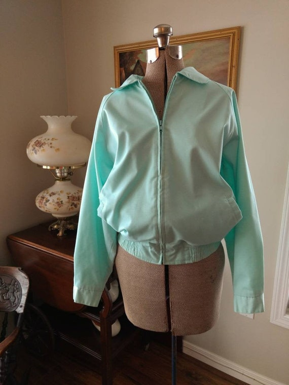 1980s Preppy Jacket Pastel Blue Green by Tabi Int… - image 1