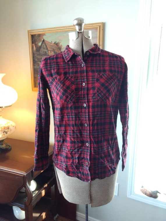 Plaid Shirt Retro Vintage Beaver Canoe Size Small