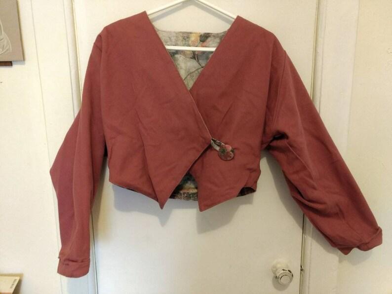 Reversible Jacket Crop Blazer Floral Print Plum Pink
